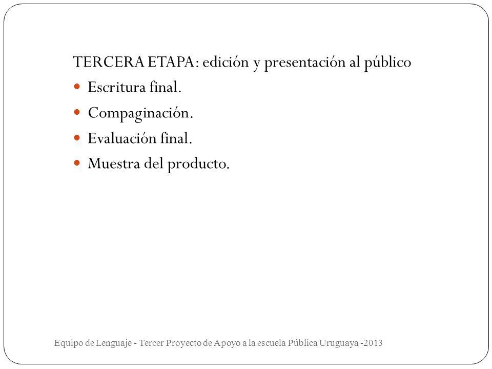 TERCERA ETAPA: edición y presentación al público Escritura final.