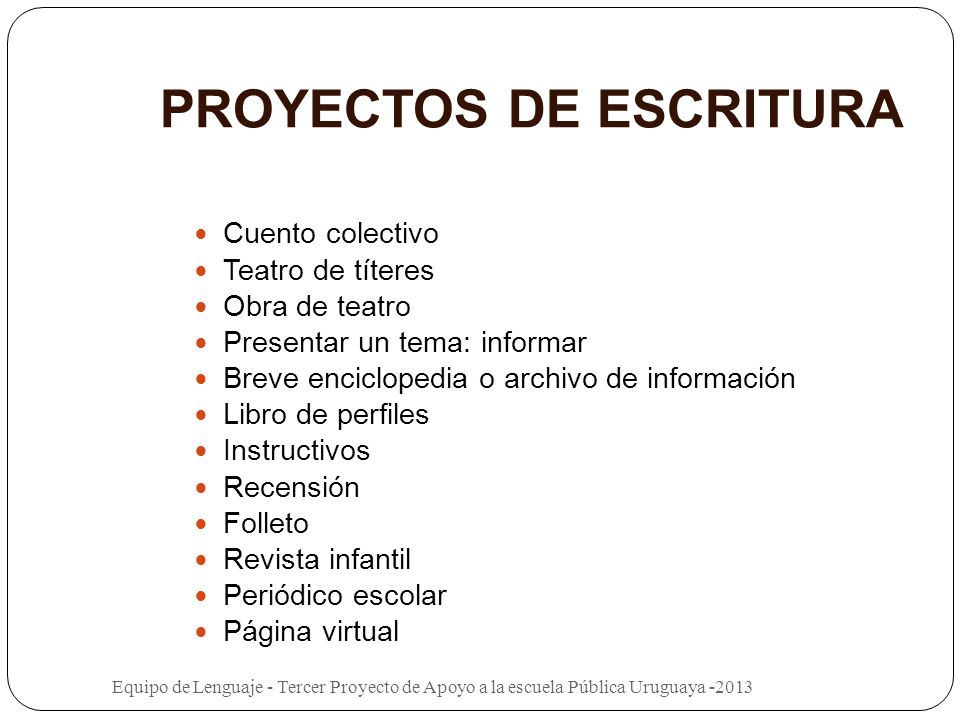 PROYECTOS DE ESCRITURA