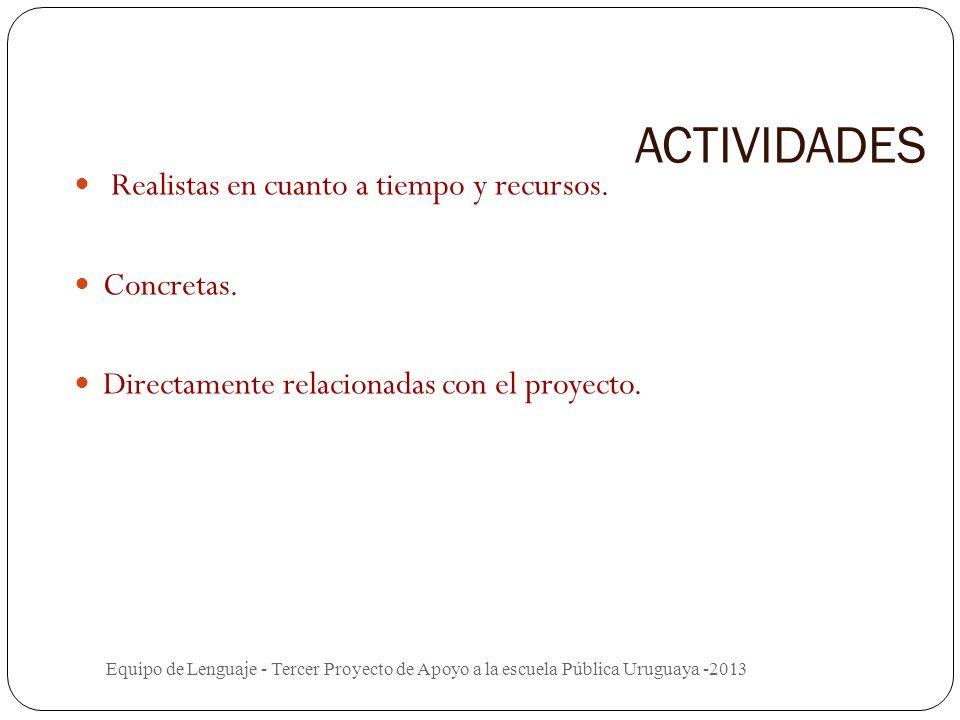 ACTIVIDADES Realistas en cuanto a tiempo y recursos. Concretas.