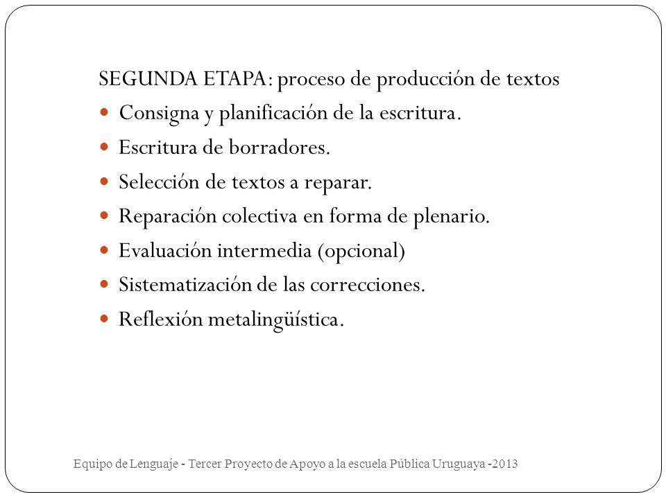 SEGUNDA ETAPA: proceso de producción de textos