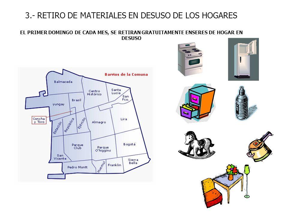3.- RETIRO DE MATERIALES EN DESUSO DE LOS HOGARES EL PRIMER DOMINGO DE CADA MES, SE RETIRAN GRATUITAMENTE ENSERES DE HOGAR EN DESUSO