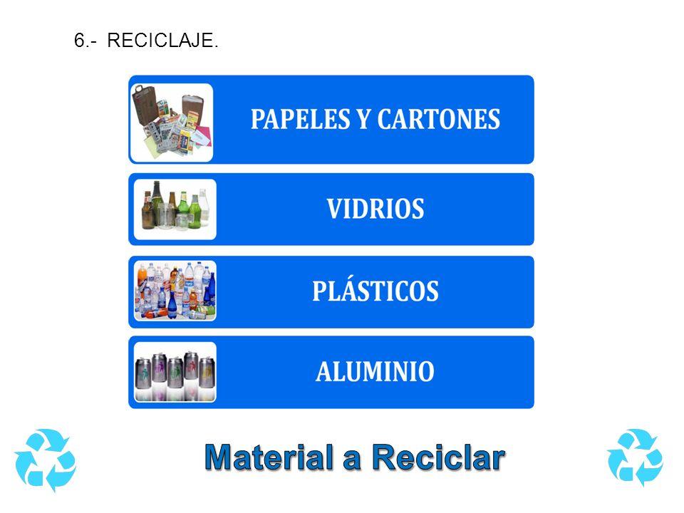 6.- RECICLAJE. Material a Reciclar