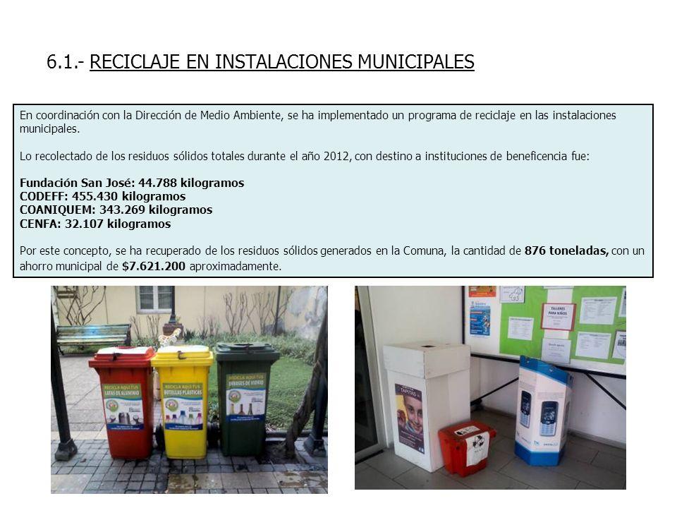 6.1.- RECICLAJE EN INSTALACIONES MUNICIPALES