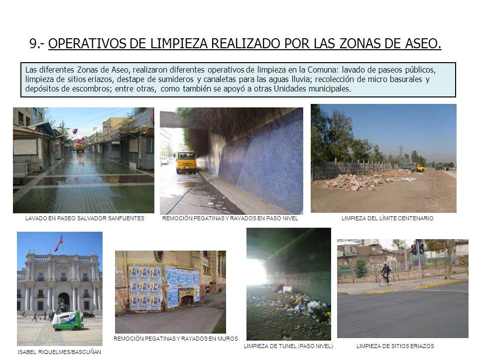 9.- OPERATIVOS DE LIMPIEZA REALIZADO POR LAS ZONAS DE ASEO.