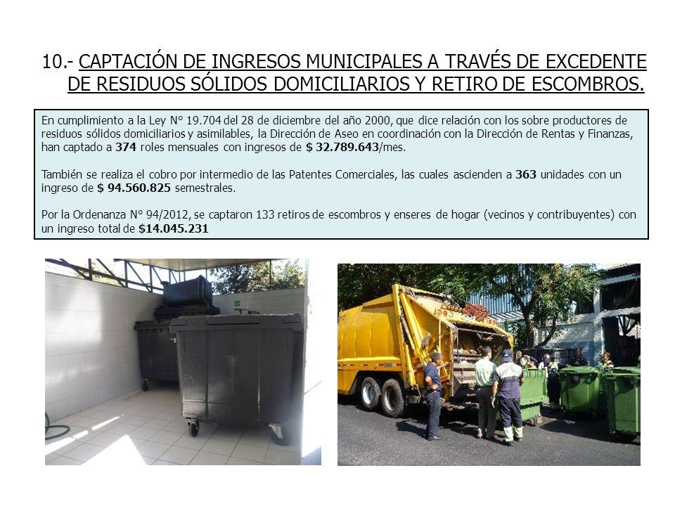 10.- CAPTACIÓN DE INGRESOS MUNICIPALES A TRAVÉS DE EXCEDENTE DE RESIDUOS SÓLIDOS DOMICILIARIOS Y RETIRO DE ESCOMBROS.