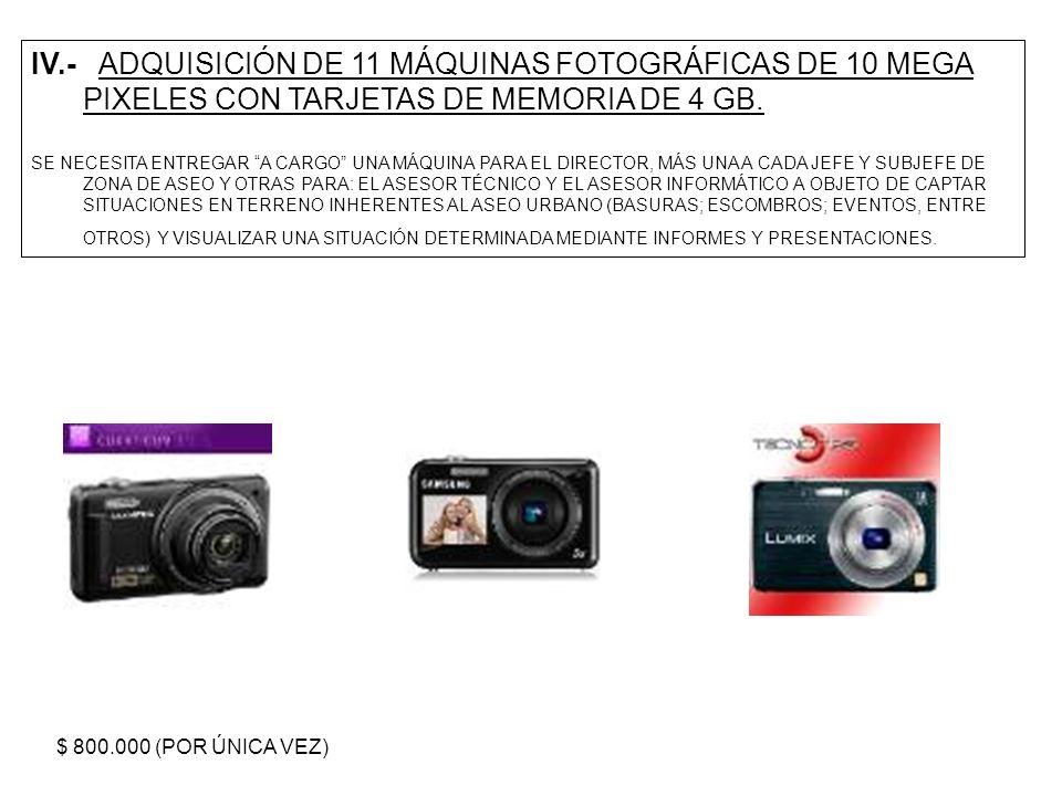 IV.- ADQUISICIÓN DE 11 MÁQUINAS FOTOGRÁFICAS DE 10 MEGA PIXELES CON TARJETAS DE MEMORIA DE 4 GB.