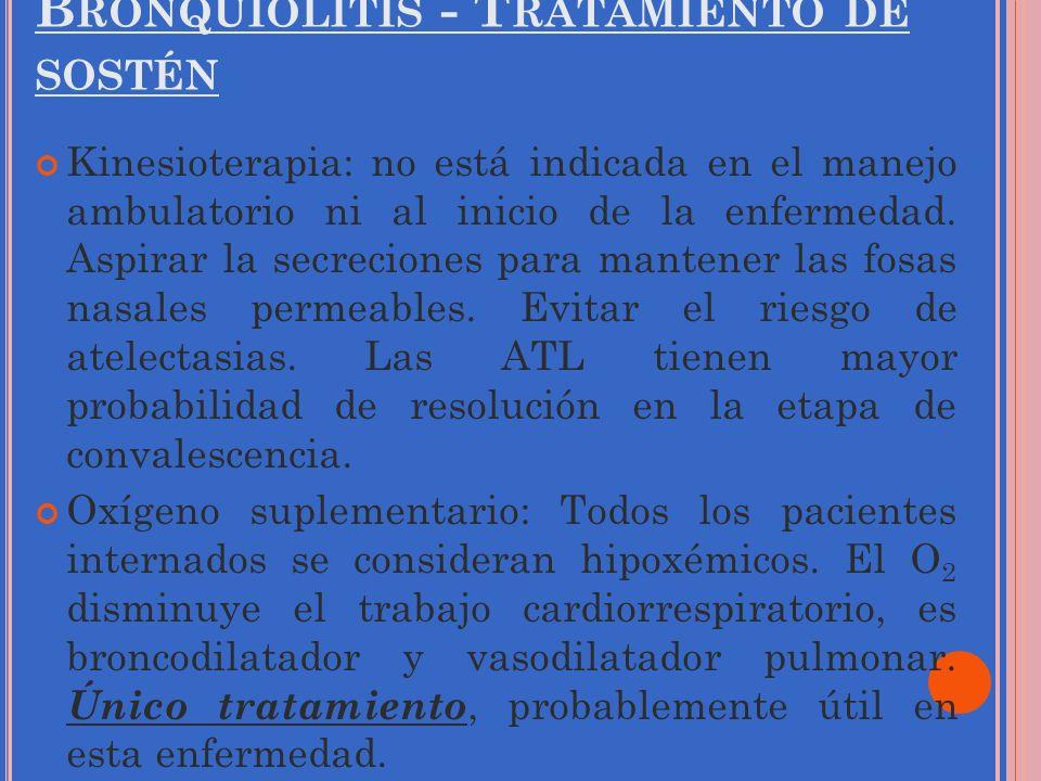 Bronquiolitis - Tratamiento de sostén