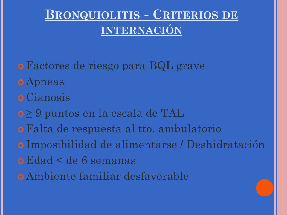 Bronquiolitis - Criterios de internación