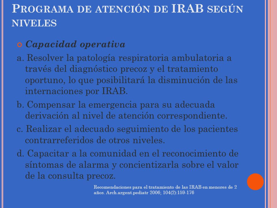 Programa de atención de IRAB según niveles