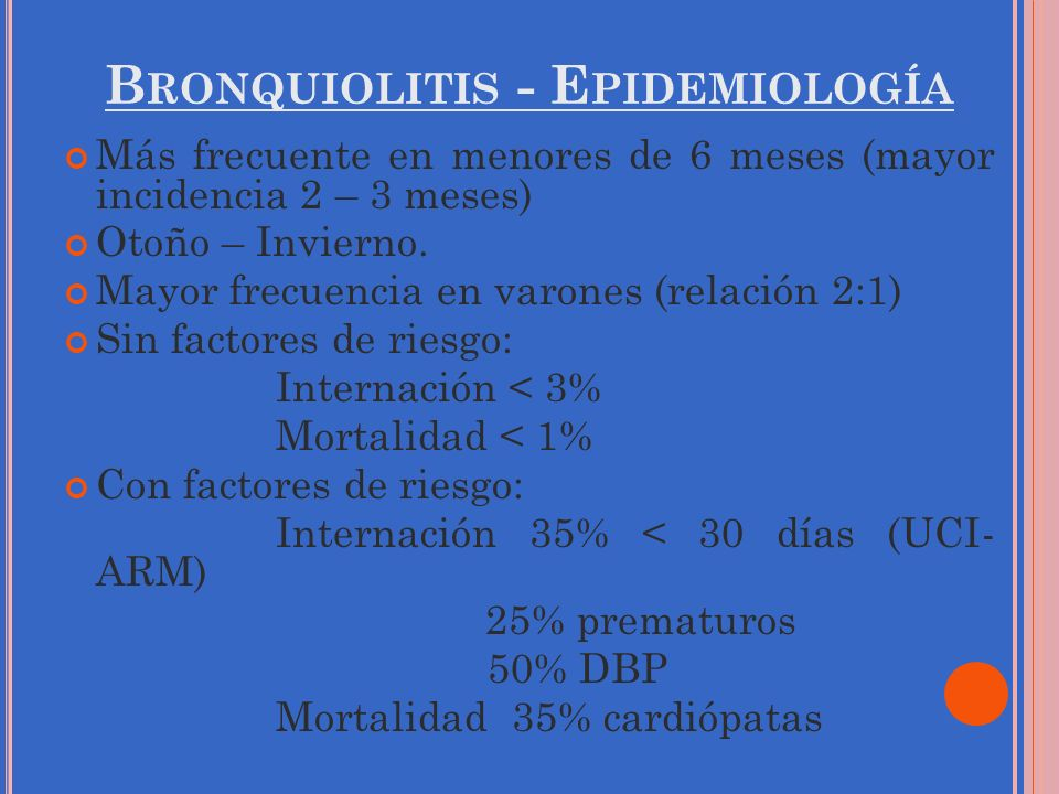Bronquiolitis - Epidemiología