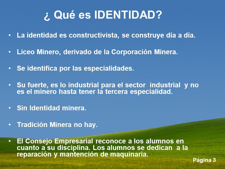 ¿ Qué es IDENTIDAD La identidad es constructivista, se construye día a día. Liceo Minero, derivado de la Corporación Minera.
