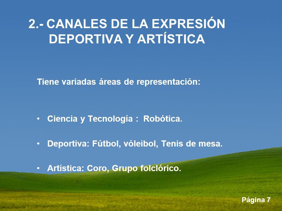 2.- CANALES DE LA EXPRESIÓN DEPORTIVA Y ARTÍSTICA