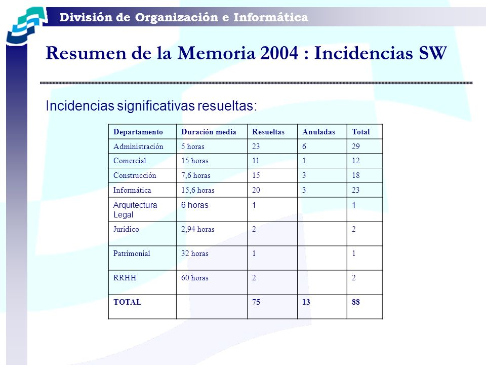 Resumen de la Memoria 2004 : Incidencias SW