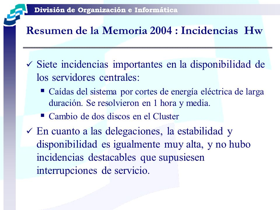 Resumen de la Memoria 2004 : Incidencias Hw