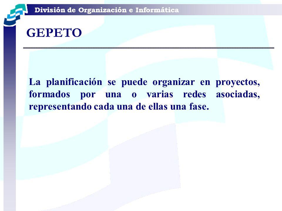 GEPETO La planificación se puede organizar en proyectos, formados por una o varias redes asociadas, representando cada una de ellas una fase.