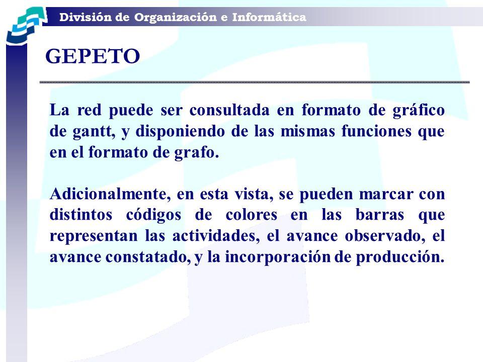 GEPETO La red puede ser consultada en formato de gráfico de gantt, y disponiendo de las mismas funciones que en el formato de grafo.