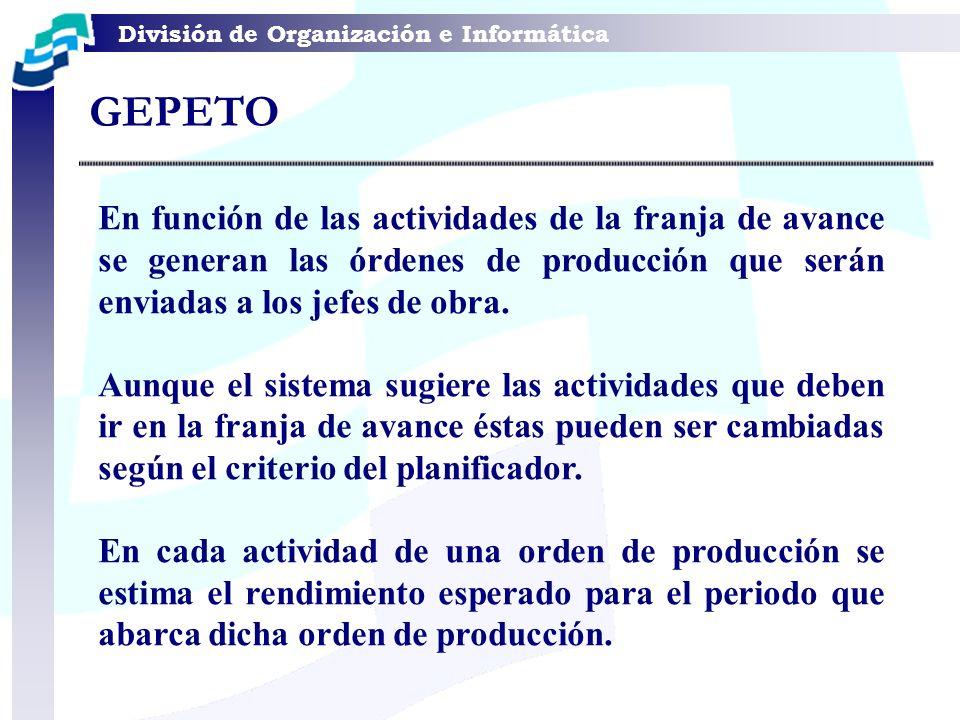 GEPETO En función de las actividades de la franja de avance se generan las órdenes de producción que serán enviadas a los jefes de obra.