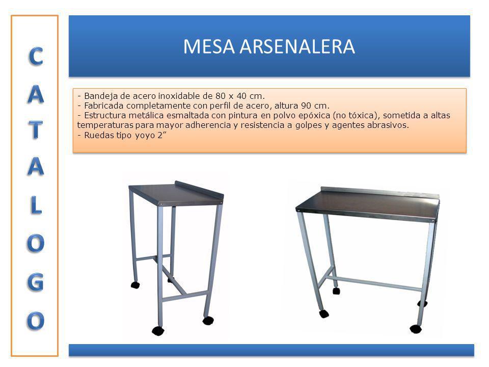 CATALOGO MESA ARSENALERA - Bandeja de acero inoxidable de 80 x 40 cm.