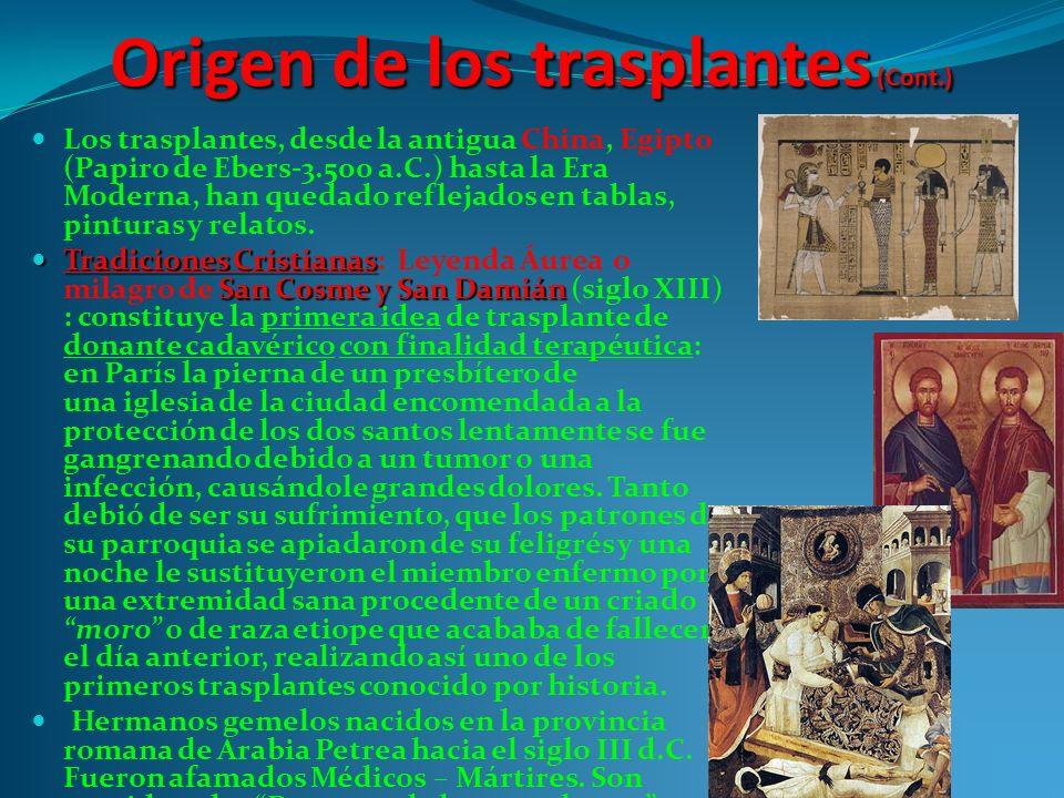 Origen de los trasplantes (Cont.)