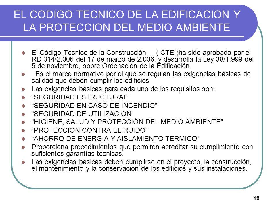 EL CODIGO TECNICO DE LA EDIFICACION Y LA PROTECCION DEL MEDIO AMBIENTE