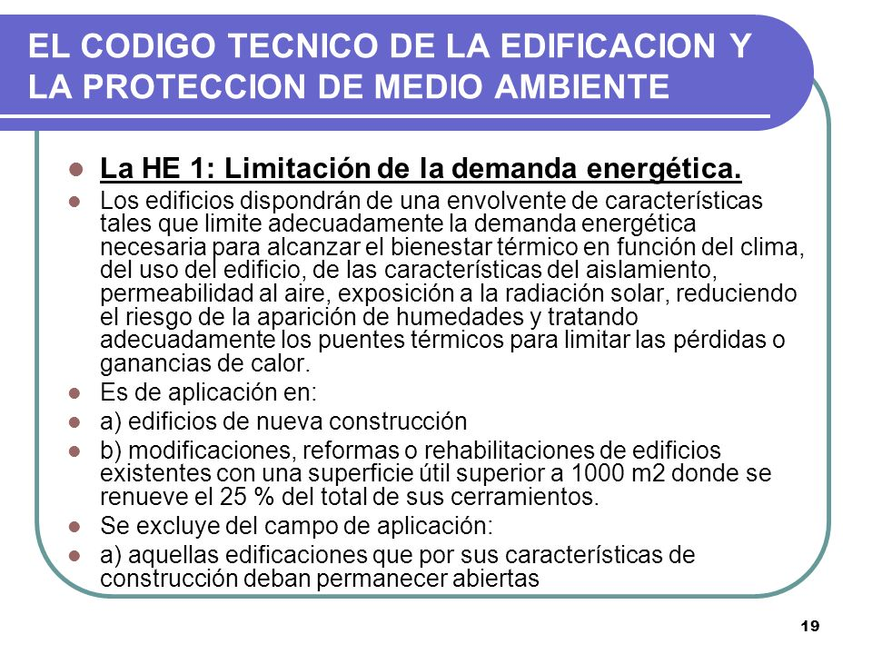 EL CODIGO TECNICO DE LA EDIFICACION Y LA PROTECCION DE MEDIO AMBIENTE