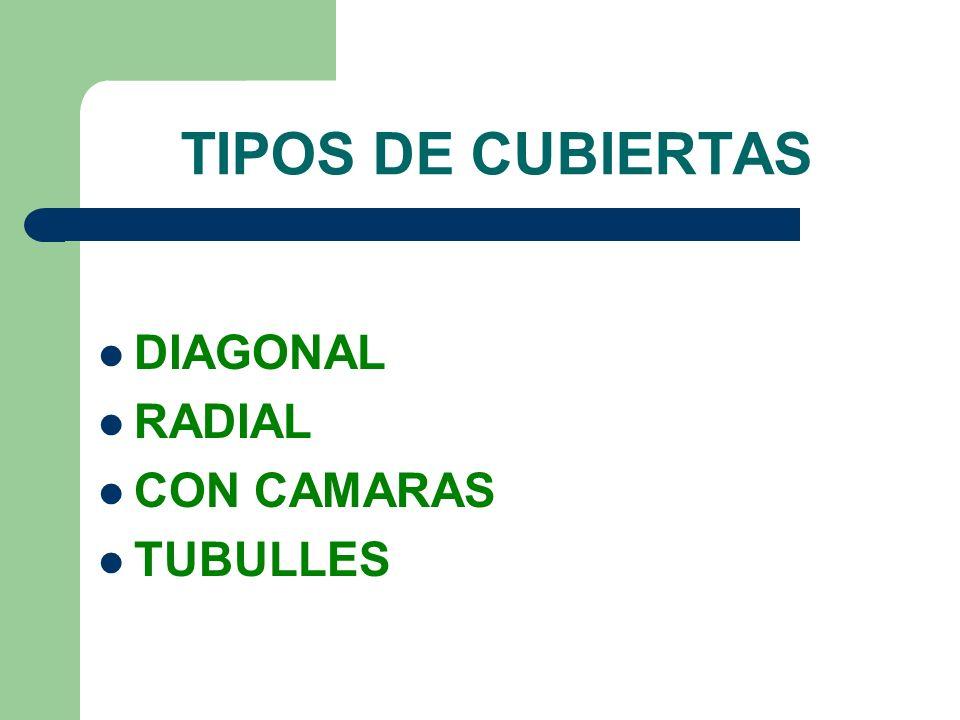 TIPOS DE CUBIERTAS DIAGONAL RADIAL CON CAMARAS TUBULLES