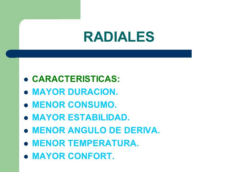 RADIALES CARACTERISTICAS: MAYOR DURACION. MENOR CONSUMO.