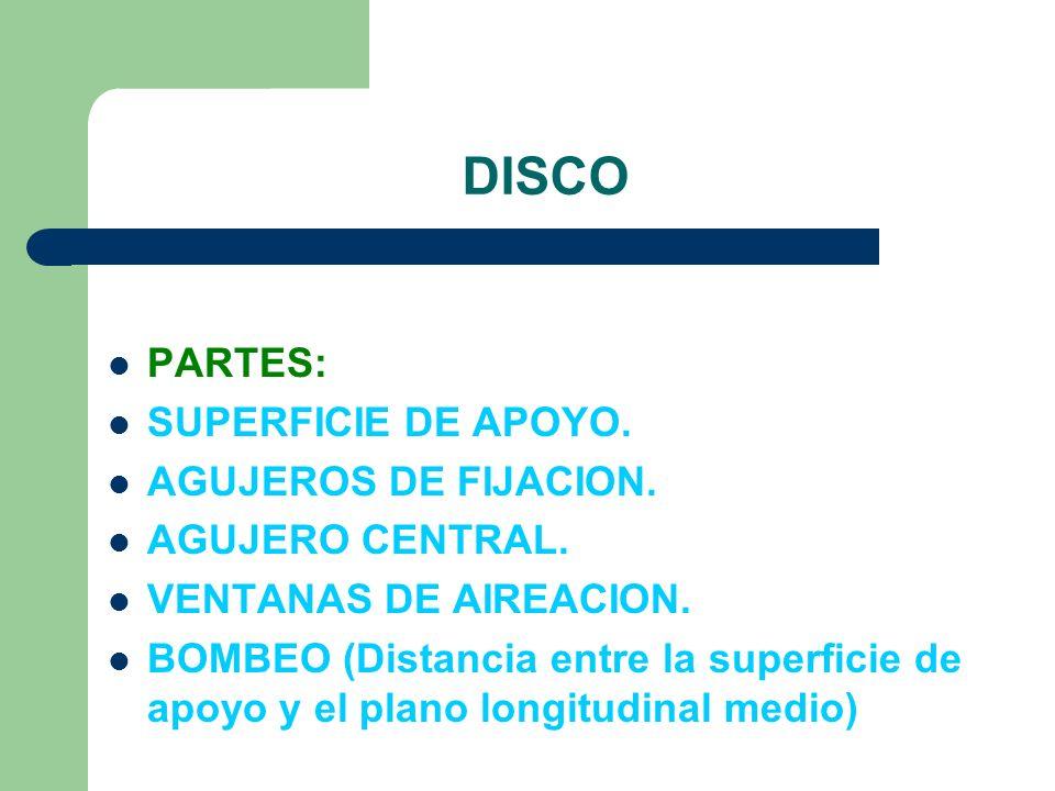 DISCO PARTES: SUPERFICIE DE APOYO. AGUJEROS DE FIJACION.