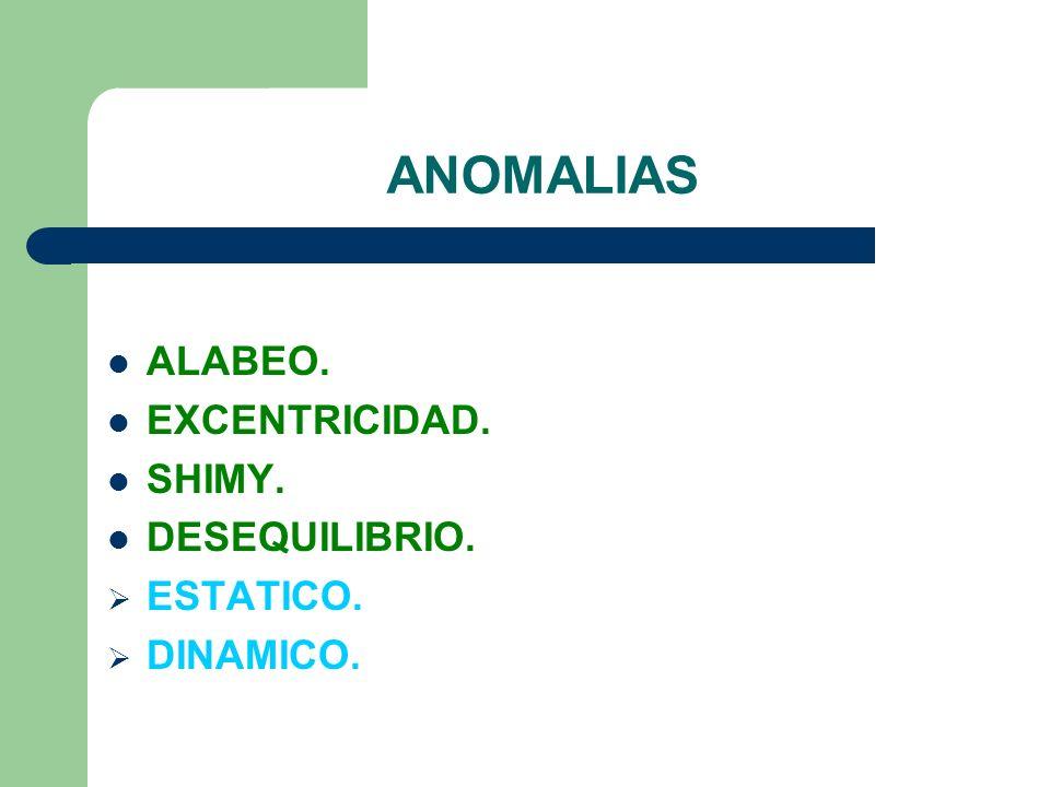 ANOMALIAS ALABEO. EXCENTRICIDAD. SHIMY. DESEQUILIBRIO. ESTATICO.