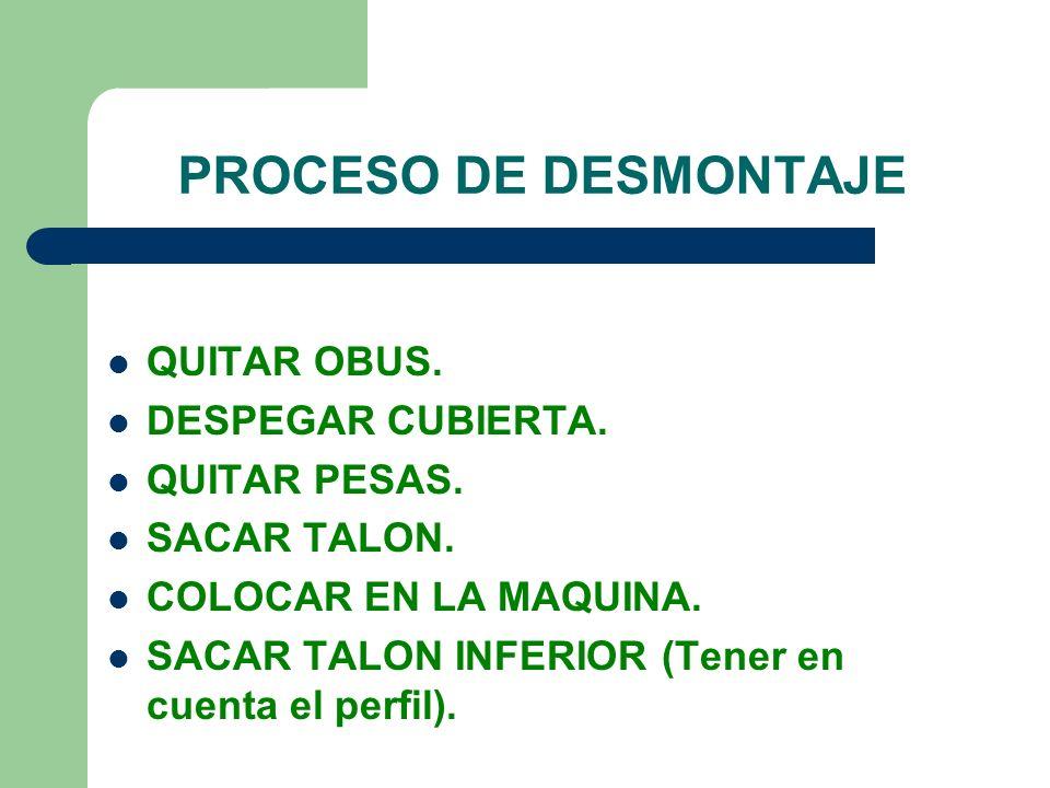 PROCESO DE DESMONTAJE QUITAR OBUS. DESPEGAR CUBIERTA. QUITAR PESAS.