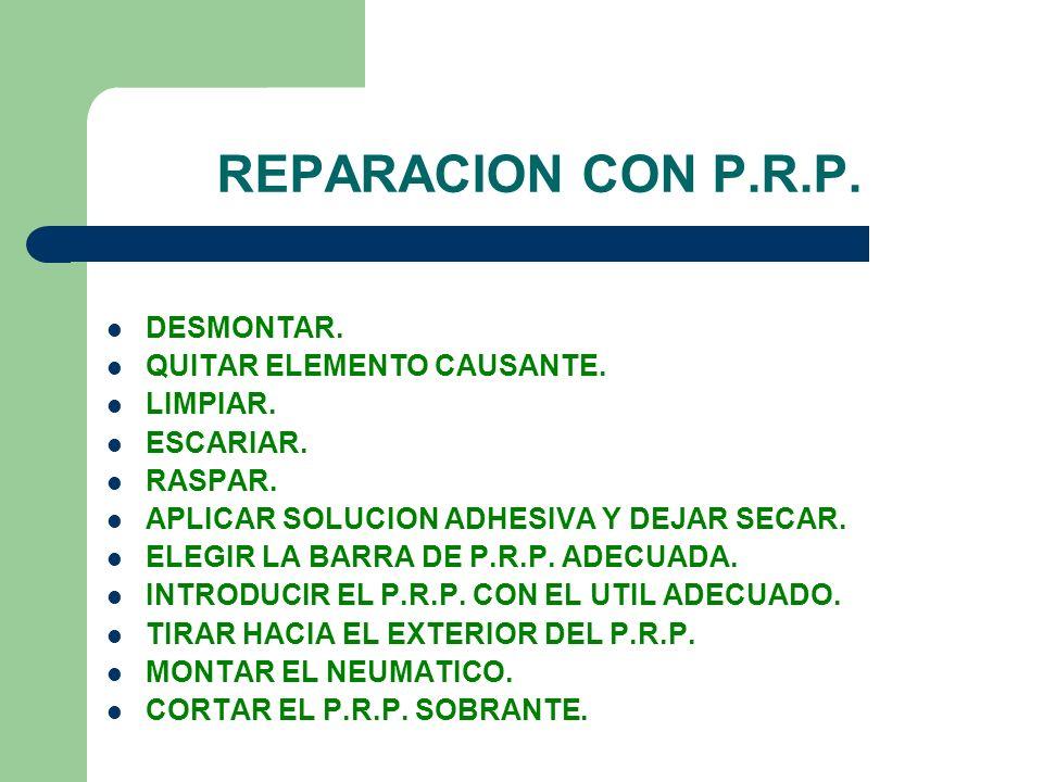REPARACION CON P.R.P. DESMONTAR. QUITAR ELEMENTO CAUSANTE. LIMPIAR.
