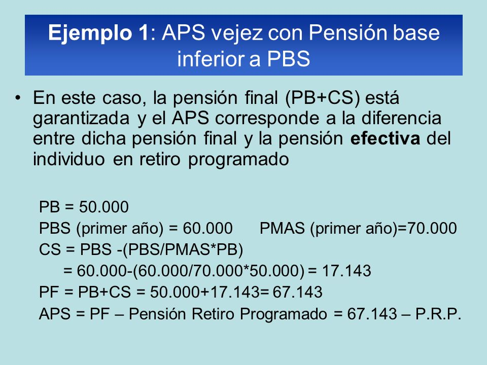 Ejemplo 1: APS vejez con Pensión base inferior a PBS