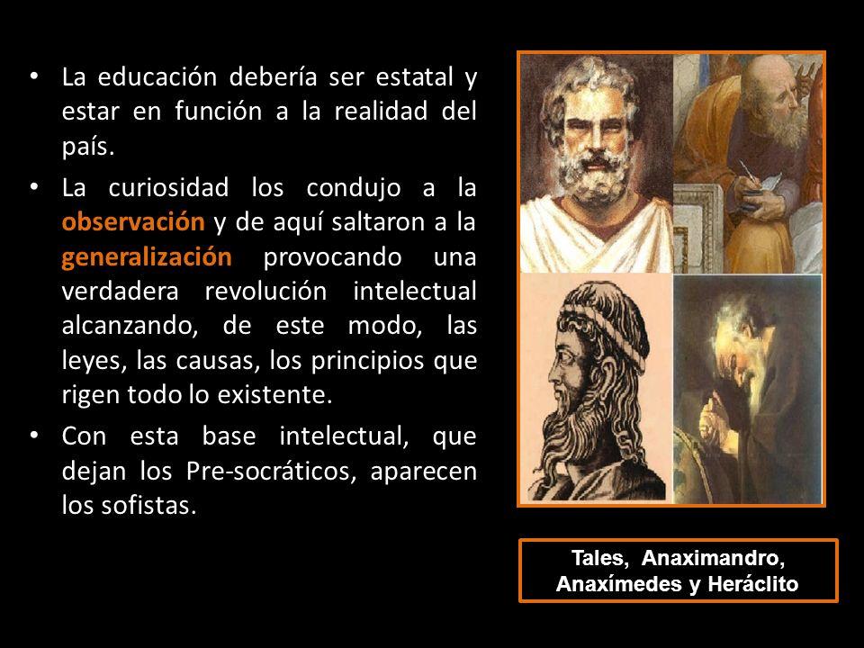 Tales, Anaximandro, Anaxímedes y Heráclito