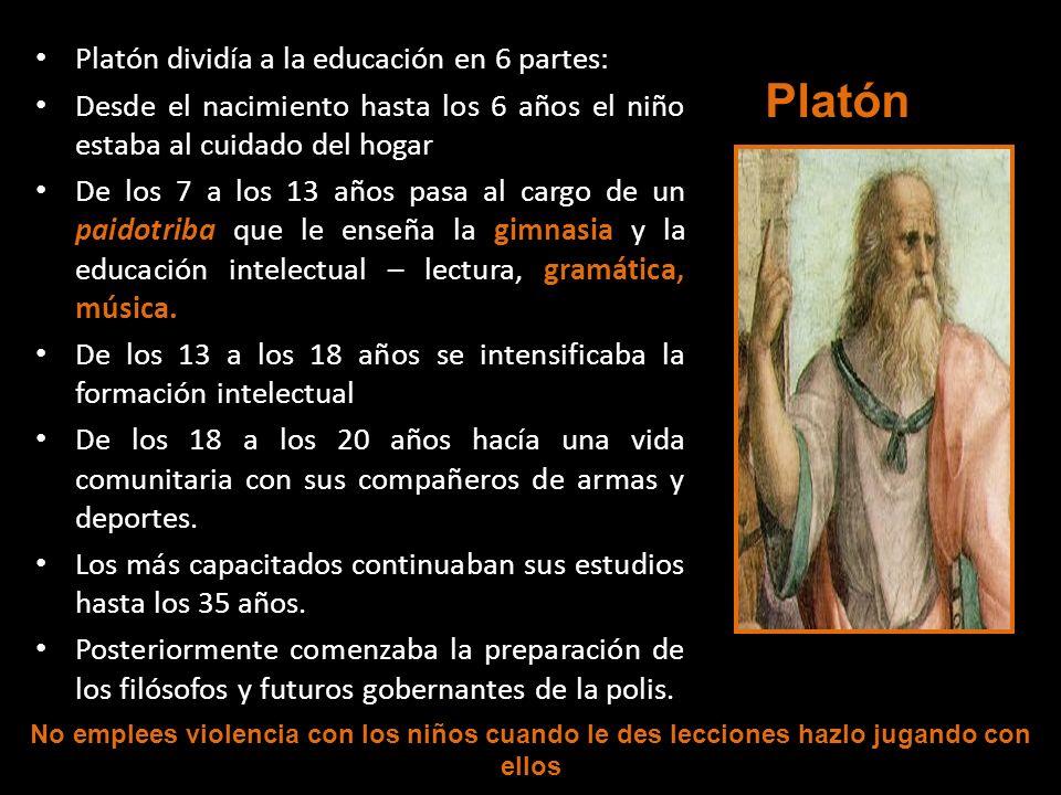 Platón Platón dividía a la educación en 6 partes: