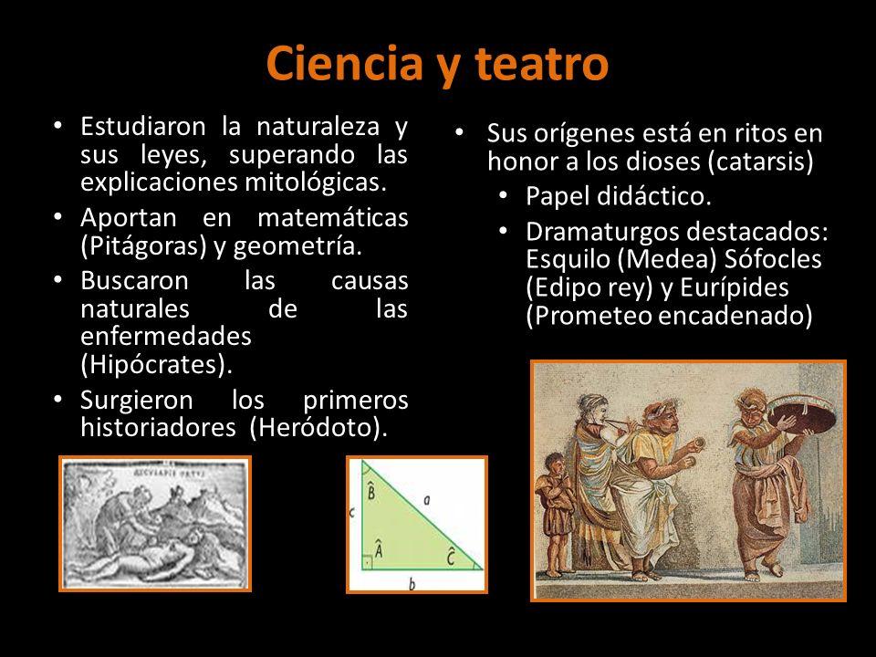 Ciencia y teatro Estudiaron la naturaleza y sus leyes, superando las explicaciones mitológicas. Aportan en matemáticas (Pitágoras) y geometría.