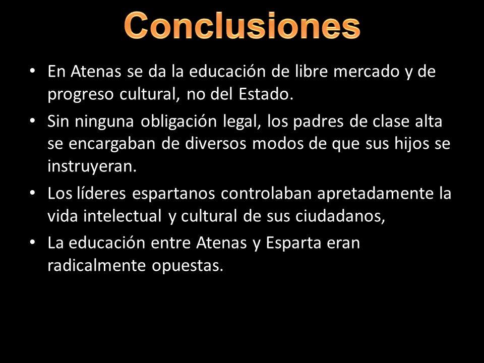 Conclusiones En Atenas se da la educación de libre mercado y de progreso cultural, no del Estado.