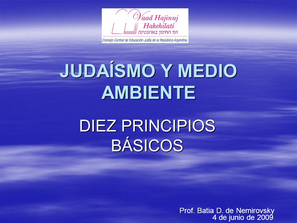 JUDAÍSMO Y MEDIO AMBIENTE