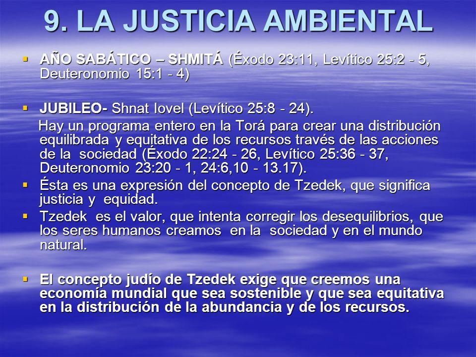 9. LA JUSTICIA AMBIENTAL AÑO SABÁTICO – SHMITÁ (Éxodo 23:11, Levítico 25:2 - 5, Deuteronomio 15:1 - 4)