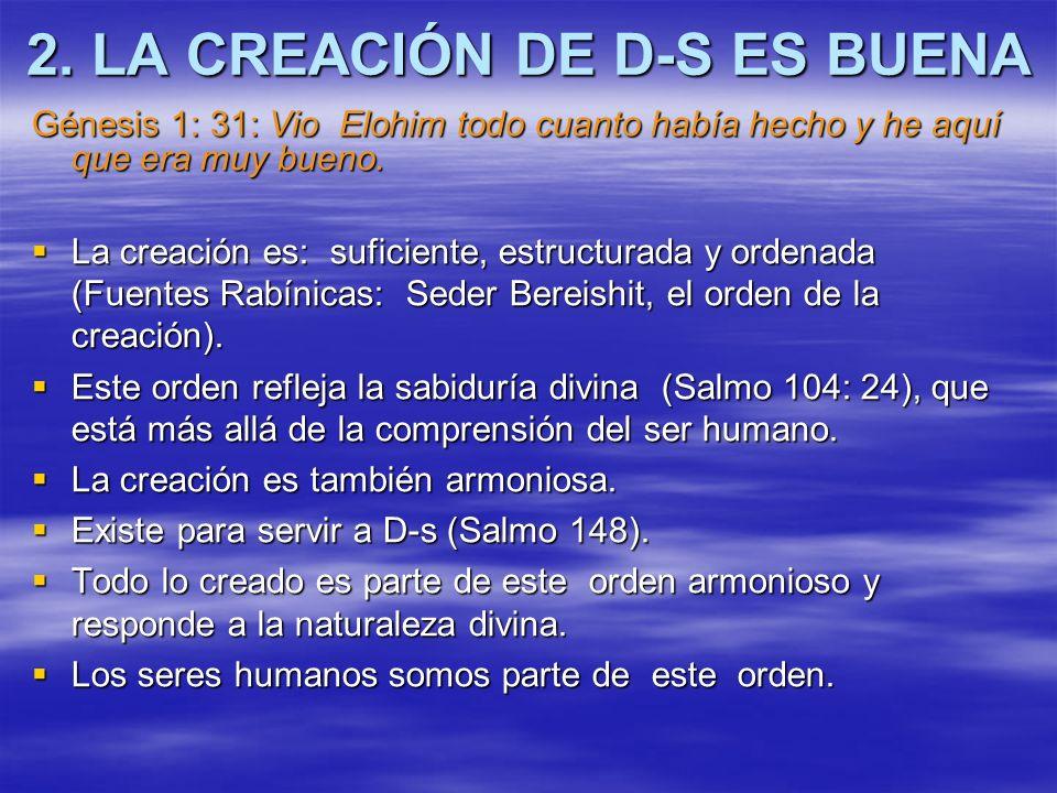 2. LA CREACIÓN DE D-S ES BUENA