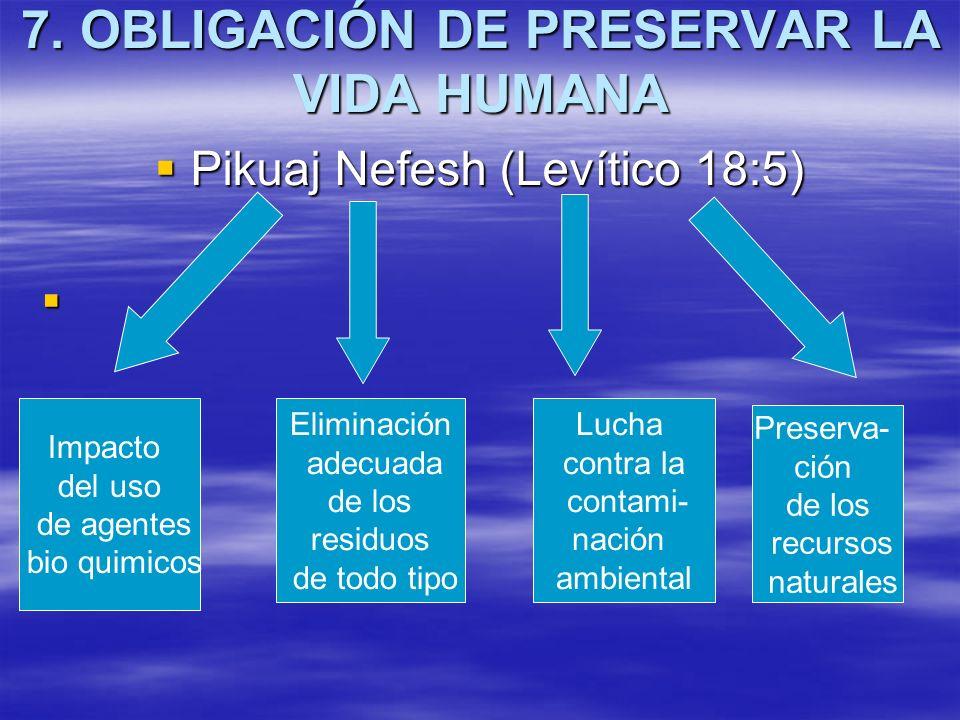 7. OBLIGACIÓN DE PRESERVAR LA VIDA HUMANA