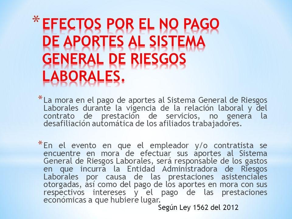 EFECTOS POR EL NO PAGO DE APORTES AL SISTEMA GENERAL DE RIESGOS LABORALES.