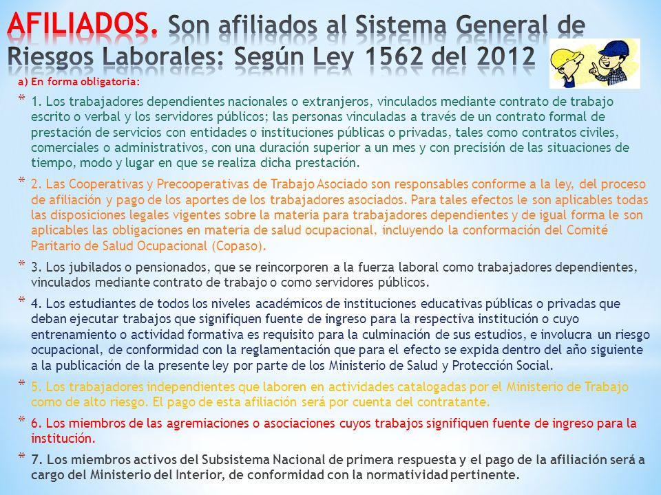AFILIADOS. Son afiliados al Sistema General de Riesgos Laborales: Según Ley 1562 del 2012