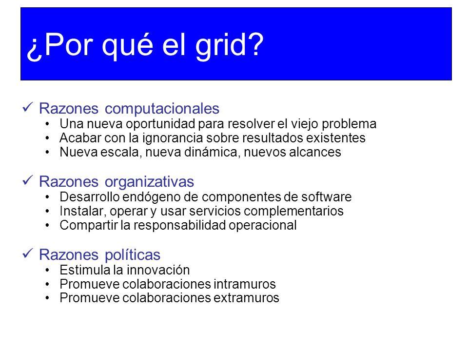 ¿Por qué el grid Razones computacionales Razones organizativas