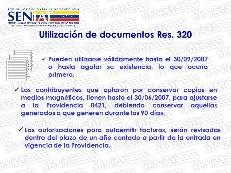 Utilización de documentos Res. 320