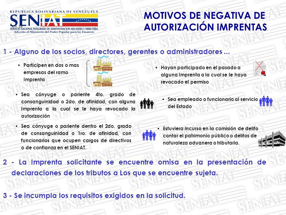 MOTIVOS DE NEGATIVA DE AUTORIZACIÓN IMPRENTAS