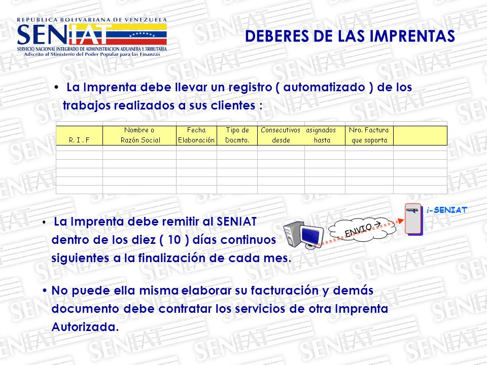 DEBERES DE LAS IMPRENTAS