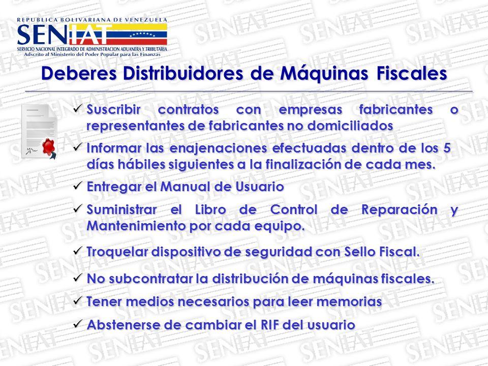 Deberes Distribuidores de Máquinas Fiscales