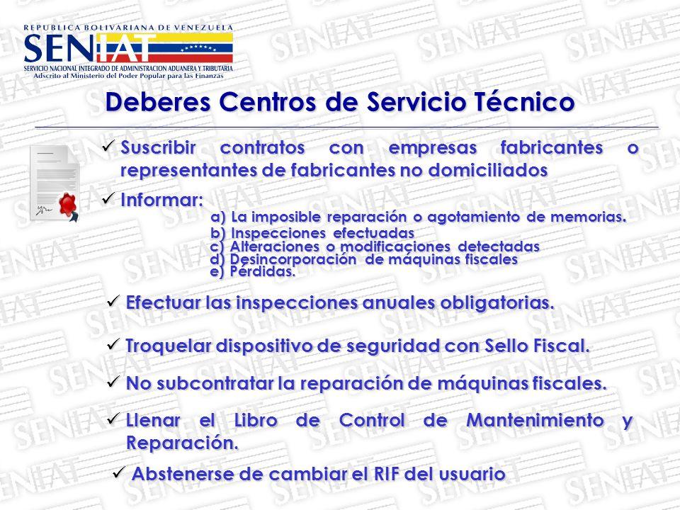 Deberes Centros de Servicio Técnico