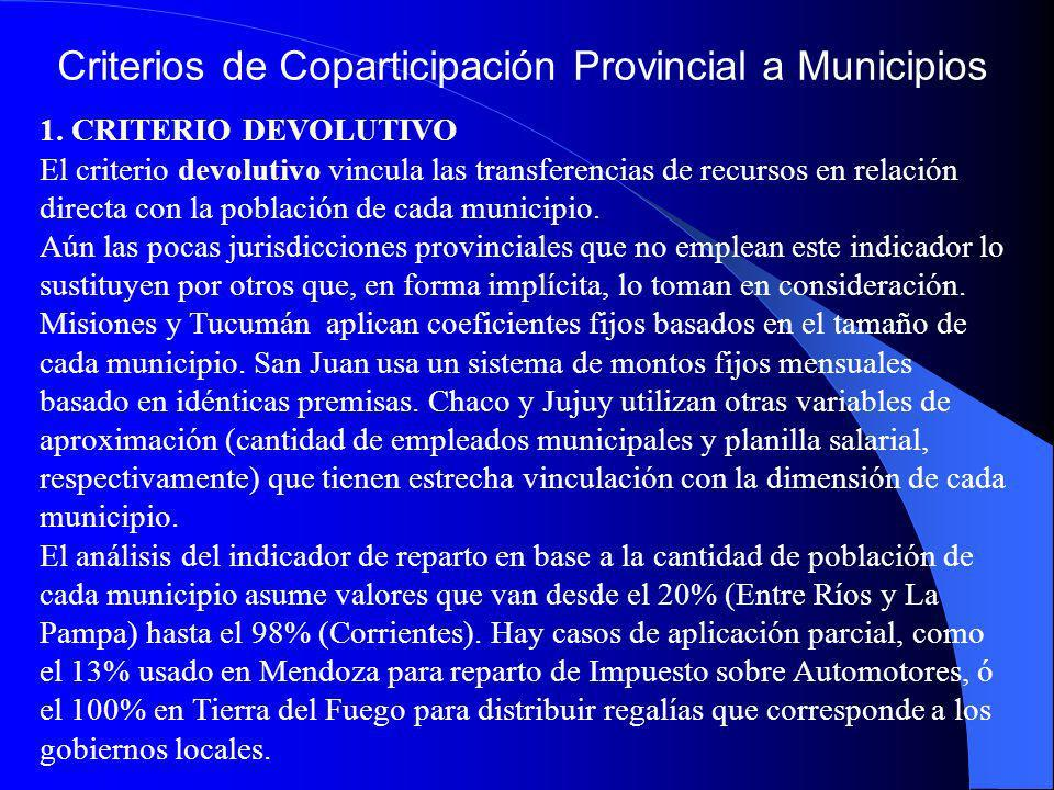 Criterios de Coparticipación Provincial a Municipios