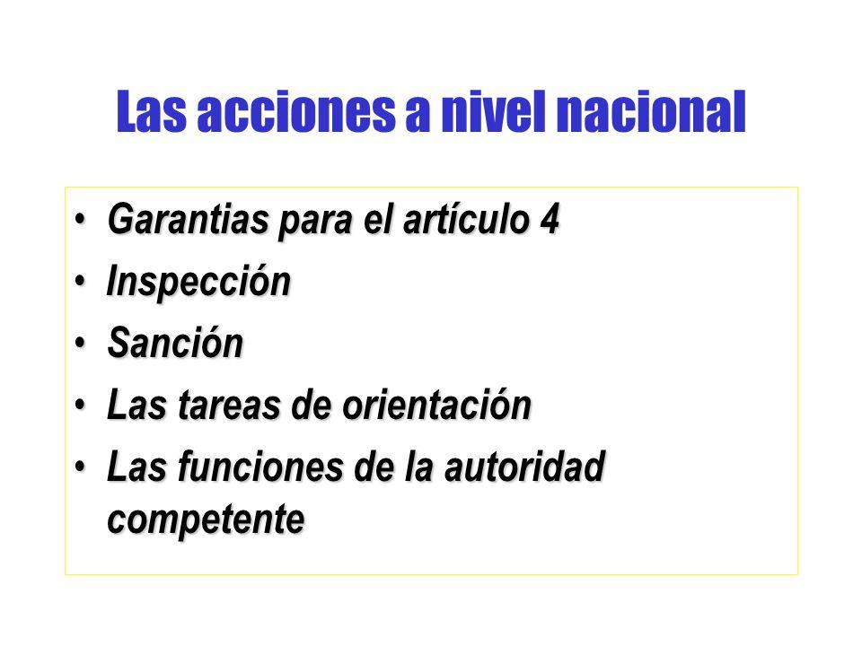 Las acciones a nivel nacional
